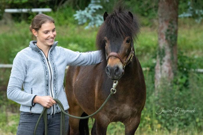 Graues Oberteil und dunkelbraunes Pferd