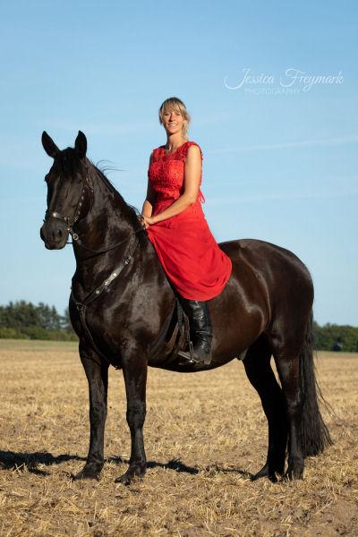 Rotes Kleid und schwarzes Pferd