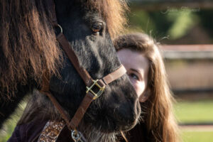 Mensch schaut Pferd an