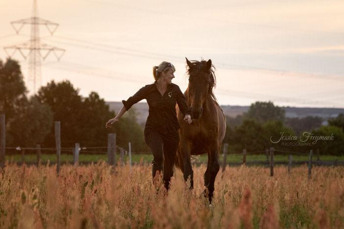 Pferd und Mensch beim ausgelassenen Spiel auf der Weide